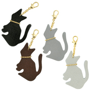 猫レザーチャーム 日本製