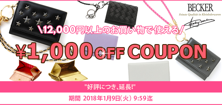 12,000円以上のお買い物で使える1,000円OFFクーポン!