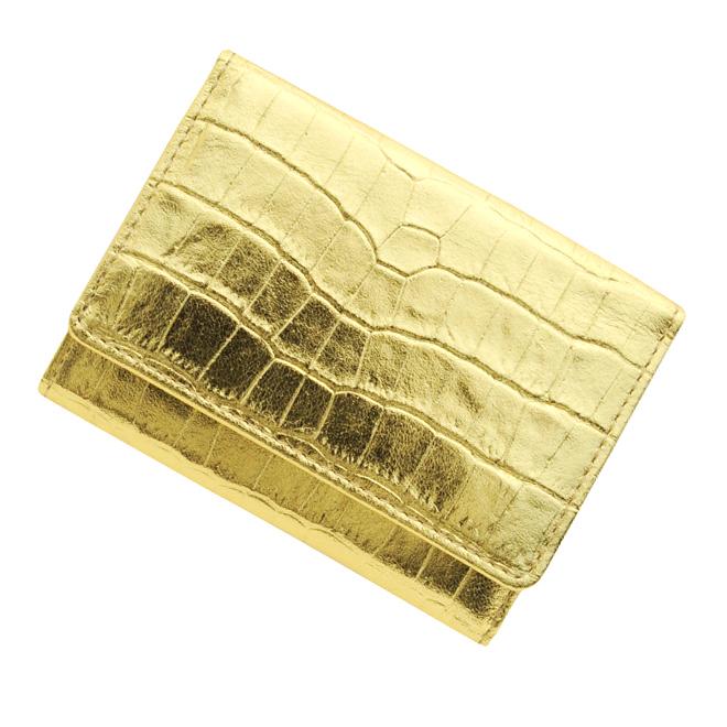 極小財布クロコ型押し メタリックゴールド ベーシック型小銭入れ CAPITO(カピート)日本製